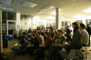 Photograph from the Golang meetup at PubNative HQ.